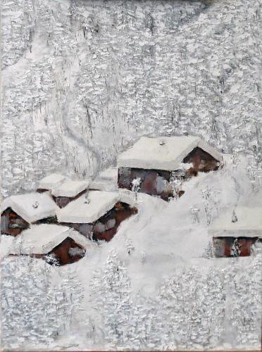 CABINS IN THE SNOW OIL ON CANVAS 18X24