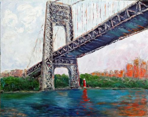 THE LITTLE RED LIGHTHOUSE AND THE GREAT GRAY BRIDGE OIL ON CANVAS 24X30