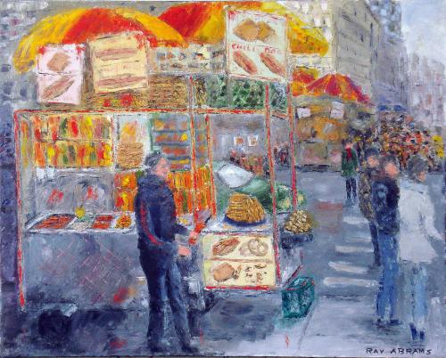 NEW YORK HOT DOG STAND OIL ON CANVAS 24X30