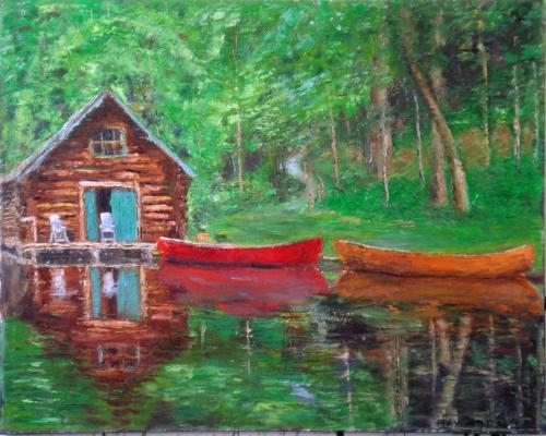 QUIET LAKE OIL ON CANVAS 24X30