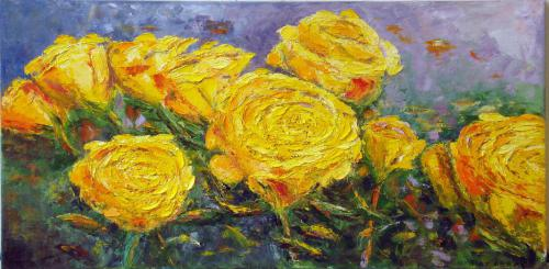 YELLOW ROSES OIL ON CANVAS 18X36