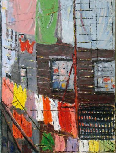 LAUNDRY IN NEW YORK OIL ON CANVAS 18X24